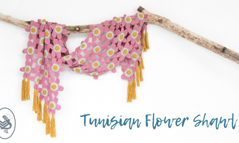 Tunisian Flower Shawl